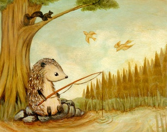 Children's Art - Hedgehog Goes Fishing Print 5x5 / 7x7 - Nursery Art, Hedgehog Art, Spring, Cute, Kids Art, Baby Art, Boys Art, Lake, Fish