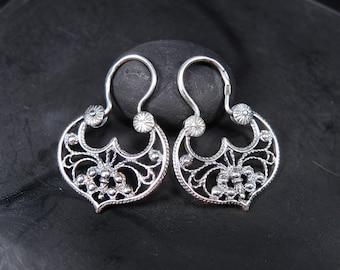 Filigree sterling silver earrings - Ornate silver hoop earrings - Sterling silver filigree earrings