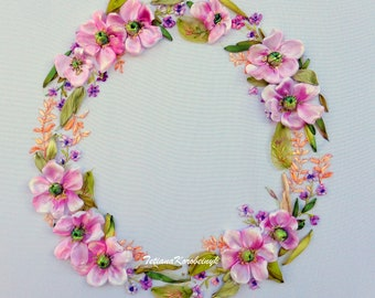 Embroidered picture Wreath  silk ribbon embroidery floral picture roses ribbon work, ribbon embroidery  wall art  ribbon flowers embroidery