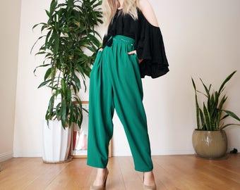 "Emerald Green High Waisted Pants / Loose Roomy Pants / Vintage pleated pants / 80's ankle crop pants / waist 27"""