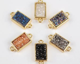 Wholesale Small Gold Plated Rectangle Rainbow Natural Titanium Agate Druzy Geode Connector Double Bails Drusy Gemstone Charm Jewelry ZG0154