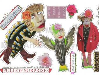 Digital collage sheet,nr. CC32, whimsical creatures, handmade, quirky, scrapbooking, journaling