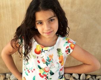 Girls Crop Top, Girls Summer Top, Girls Floral Top, Girls Floral Shirt , Toddler Girls Fruit Top Sleeveless.