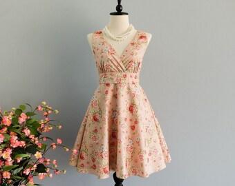 Pink party dress floral pink bridesmaid dress 50's dress tea dress party dress sundress floral flower girl dress engagement dress