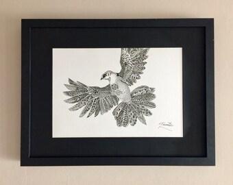 Wing Span. Illustrated Patterned Print (framed)