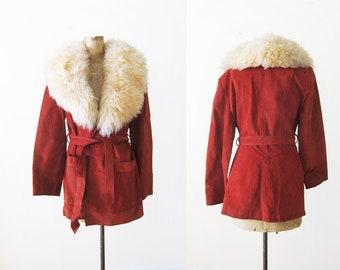70s Fur Collar Coat - 1970s Suede and Shearling Wide Collar Jacket - Bohemian Jacket - Boho Fur Collar Jacket - Almost Famous