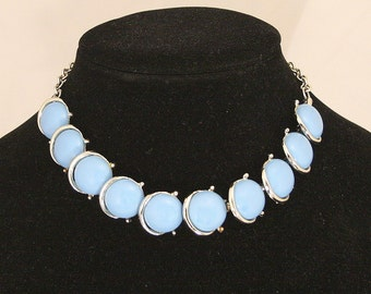 Vintage Blue Thermoset Choker Necklace Sky Blue Silver Adjustable