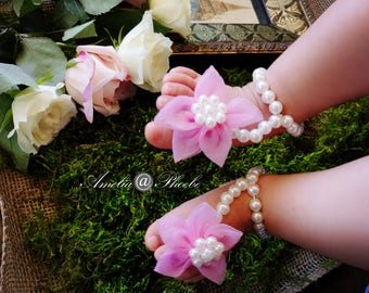 Rose Pink Flower and Pearl Elastic Baby Barefoot Sandals, Pearl Sandals, Elastic Sandals, Baby Accessories, Baby Shoes, Baby Shower Gifts