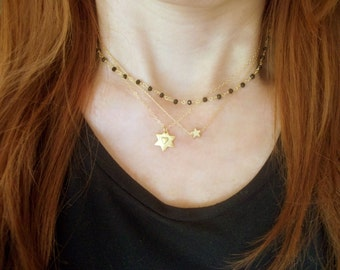 Star & heart necklace Mothers necklace Delicate necklace, Mothers gift Star jewelry Heart necklace Gold jewelry Star gold necklace