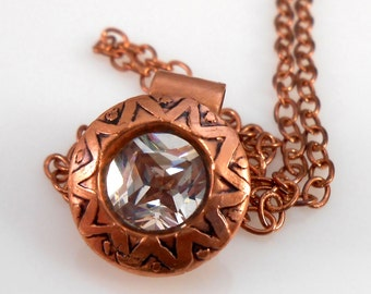 CZ in Etched Copper with Copper Chain Pendant