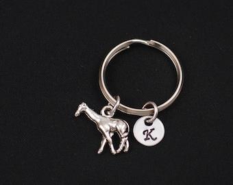 giraffe keychain, sterling silver filled, initial keychain, silver cute giraffe charm keyring, animal keychain, wildlife giraffe keyring