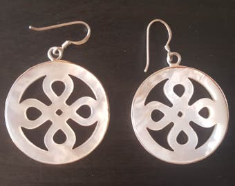 moonstone earring, sterling silver with infinity sign