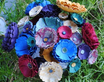 Jeweltone Paper Wedding Bouquet -Red, Blue, Purple Paper Flowers - Beaded Bridal Bouquet - Handmade-Bead Centers - Custom Colors Available