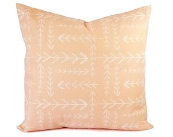 Two Peach Pillow Covers - Peach Throw Pillow - Pink Pillows - Arrow Pillow Sham - Euro Sham - Lumbar Pillow - 18 x 18 Pillow Cover 20 x 20
