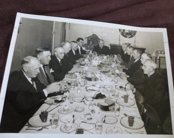 Vintage Photo Priests and Other Men at Meal News Photo