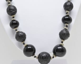 Large Beads Black Color Necklace