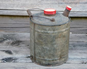 Vintage Gas Can, Galvanized Metal, Garage Decor, Rustic Patina, Red Lid Cap, Industrial Style