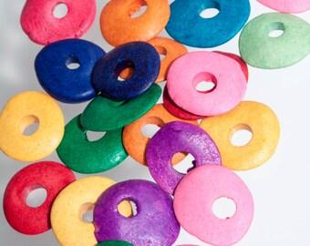 Mykonos Greek Ceramic Beads-Cornflake Shape, 13mm, Purple Beads, Yellow Beads, Blue Beads, Green Beads, Red Beads, Chunky Beads, Large Hole