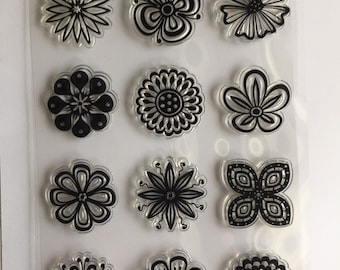 Flower stamp set, flower center stamps, pansy stamp, chrysanthemum stamp, layering stamps, Springtime stamps, Mother's Day stamps