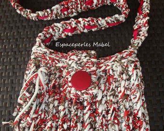 Hoooked zpagetti red, off-white bag, cotton lined, handmade, recycled wire