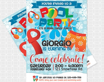 Winter Pool Party Invitation, Printable file, Personalized