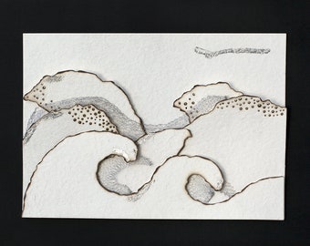 Burnt paper painting, bobbin lace and silver foil, tide