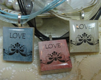 Red. Blue or Cream Flourish Valentine Love Scrabble Tile Pendant Necklace on Ribbon