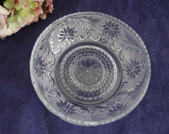 "Indiana Glass Sandwich Pattern Deep Bowl - Sandwich Pattern Serving Bowl - 6.25"" Bowl - Indiana Glass Deep Nappy Bowl"