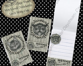 Instant Download Digital Printable Project Kit - Matchbook Notebooks Louis Wain Cats
