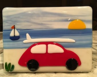 Fused glass red Volkswagen at beach plaque