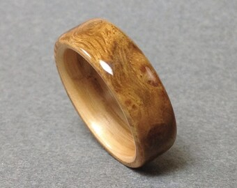Bentwood Ring, Burled Oak lined with Oak, Men's Wood Ring, Women's Wood Ring