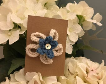 Flower brooch - hand knitted