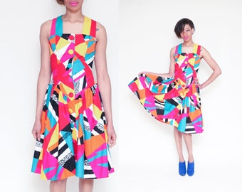 Vintage 80s COLOR BLOCK Abstract Colorful Halter Swing Dress // Tropical Geometric Leslie Lucks 50s Style Sun Dress - Size