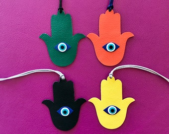NEW! Double-Sided Leather/Fabric Hamsa Hand Bag Charms