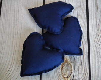 "Set of 3 NAVY stuffed heart bowl fillers, 3"" x 3"" (7cm x 7cm) blue hearts centerpiece ornaments, wedding favor, made to order"