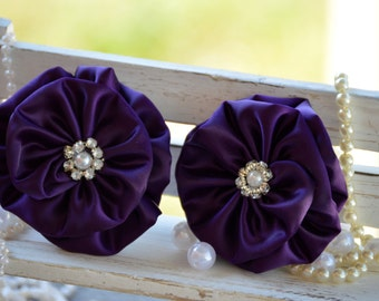"Satin Ribbon Flowers, 3"" Satin Fabric Flowers, Plum Satin Flower, Large Satin Pearl Flower, Satin Flower,  Wholesale Flowers"