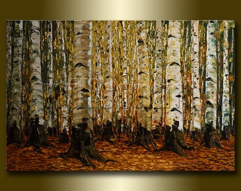 Birch Tree Forest Seasons Landscape Painting Oil on Canvas Textured Palette Knife Contemporary Original Modern Art 24X36 by Willson Lau