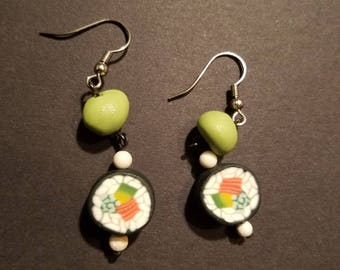 Wasabi and Sushi Roll Earrings