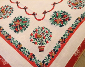"""Vintage 1960's Christmas Tablecloth-  Partridge, Pear Tree, Ornaments, excellent, 59"""" X 79 1/2"""", 1950's, 1960's"""