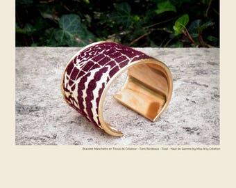 Designer Cuff Bracelet - bordeaux Tones