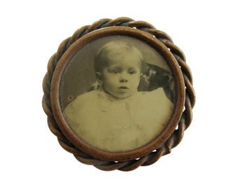 Antique Victorian Mourning Photo Portrait Brooch Pin