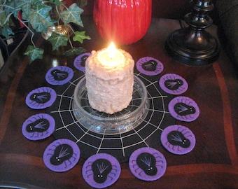 Purple Hand Stitched Halloween Spiders Wool Felt Candle Mat - Penny Rug - Primitive - Folk Art - Applique - Fiber Art - Home Decor