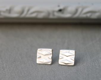 Silver earrings studs, Silver square earrings, Small Silver Earrings, Small Stud Earrings, Silver Square studs, silver stud earrings