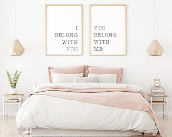 I Belong With You You Belong With Me Printable Sign Set, Printable Wall Art  Saying