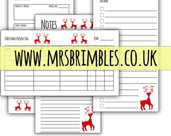 Christmas Organized with Printable Filofax Inserts - A5 Size - Elegant REINDEER / DEER