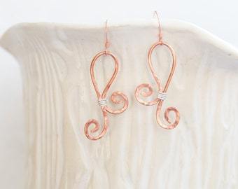 Copper and silver wire earrings, Wire Earrings, Mixed Metal Earrings, Drop Earrings, Dangle Earrings, Modern Earrings, Mixed Metal
