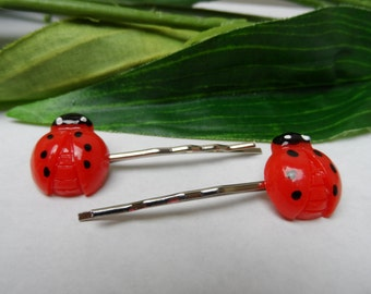 Girls set of 2 Ladybug Bobby Pin Hairclips, girls hairclips, Girls Bobby Pin hairclips, hair accessories, ladybug hair clips