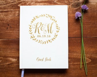 Wedding Guest Book - Ivory - Hardcover - Wedding Guestbook, Custom Guest Book, Personalized Guest Book - Gold Wreath Calligraphy