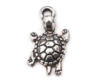 50 turtle pendant, turtle, 13 x 24 mm, silver