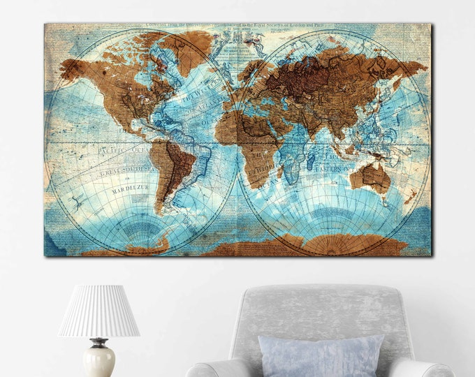 Vintage world map mixed with new world, very detailed vintage world map, world map wall art, world map canvas world map art, world map print